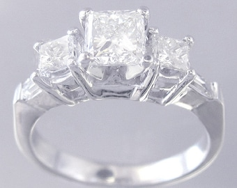14k white gold princess cut simulated diamond engagement ring prong set 1.60ctw