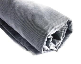 "Gray corduroy fabric/ Vintage 80s fabric/ Cotton fabric/ velveteen,   33"" (85cm)"