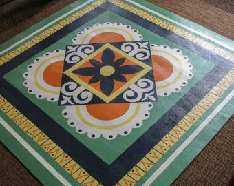 Floor Cloth: Italian Plate Pattern - 48 x 48 inches
