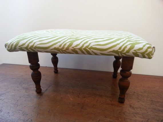 Upcycled Footstool Lime And Creamy White Zebra Print Fabric