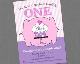 Custom Printable Cupcake Theme Birthday Party Invitation - Pink and Purple Doodle