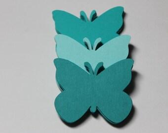 60 Teal Butterfly Die Cuts