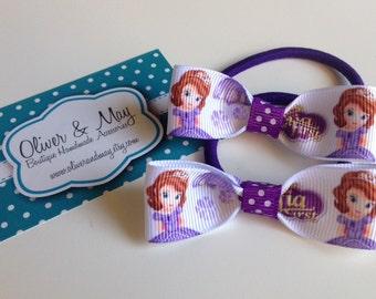 Disney princess Sofia The First bow hair elastic ties (2 pack)