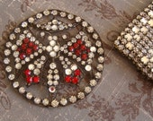 Vintage 1920s Art Deco Ruby Rhinestone Butterfly Paste Embellishment Applique Wedding Bridal