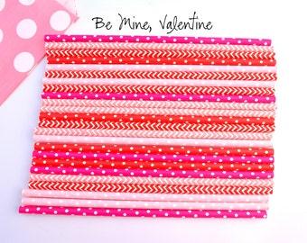 Be Mine, Valentine -Paper Straws -pink straws -hot pink straws *Valentines Day Decor *Pink and Red *Girl Party *Pink Polkadots *RED straws