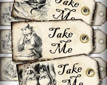 Alice in Wonderland Take Me Favor Tags Light Grunge Printable Instant Download Digital Collage