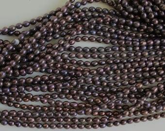 B4076 One Strand darks rice freshwater pearl loose jewelry craft bead