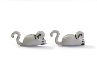 Mouse Stud Earrings - Mice Earrings - Animal Post Earring - Tiny Mouse Earrings - Mouse Jewelry - Gifts Under 10