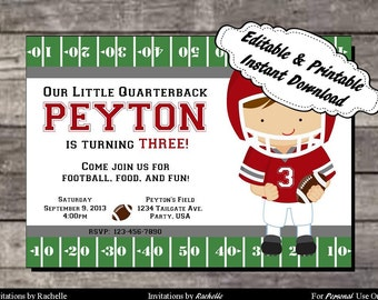 Football Invitation Birthday Party Red and Gray - Editable Printable Digital File with Instant Download