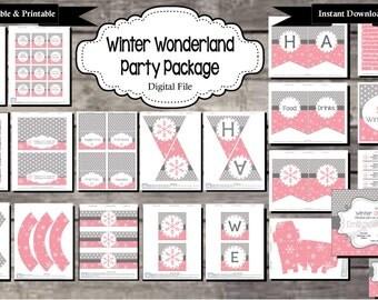 Winter Wonderland Snowflake Birthday Party Package Pink - Digital, Editable, Printable File - Instant Download