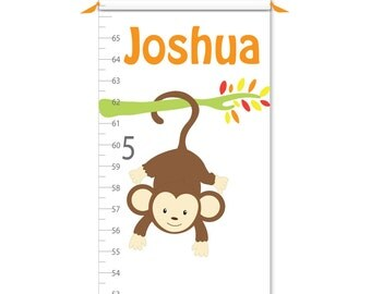 Growth Chart - Personalized Growth Chart - Monkey Growth Chart - Canvas Growth Chart - Boy Growth Chart