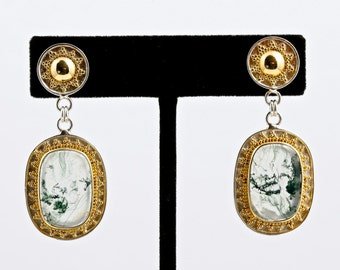 Moss 2 - Earrings - Sterling Silver and 24K Gold plating - Moss Agate