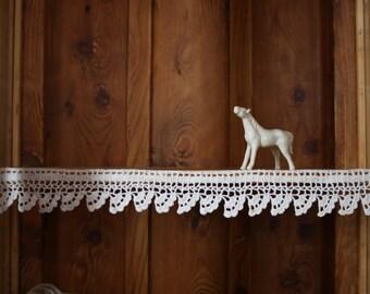 Crochet border, shelf edge, cottage decor, kitchen decor, applique
