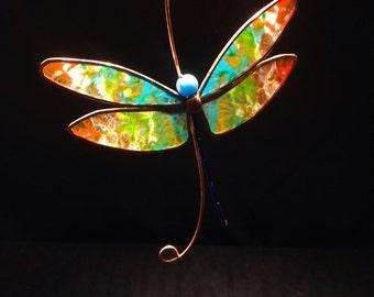 Rainbow Dragonfly stained glass suncatcher