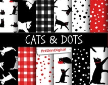 """Cat Digital Paper """"Cats & Dots"""" Black and White Digital Paper, Polka Dot Digital Paper, Gingham Digital Paper, Red Digital Paper"""
