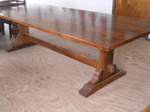 Reclaimed Barn Wood Furniture Chestnut Trestle Kitchen Dining Conference Table
