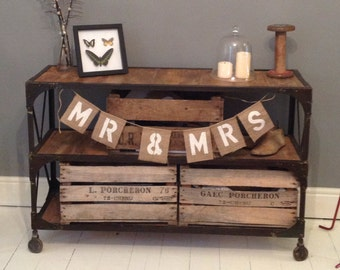 Hessian Mr & Mrs wedding banner / burlap bunting