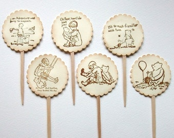 Classic, Winnie the Pooh, Cupcake Toppers, Winnie the Pooh Quotes, Baby Shower, Birthday, 1st Birthday, Cupcake Picks, Set of 6 or 12