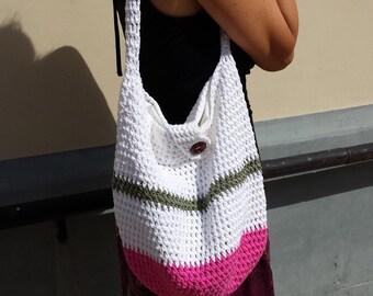 Crochet striped bag