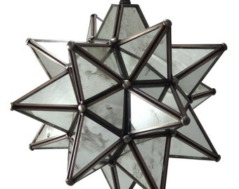 Moravian Star Pendant Light, Antique Mirrored Glass, 12""