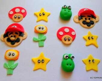 12 Super Marios Fondant Cupcake Toppers