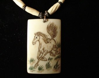 Scrim Shaw Horse  Pendant in bone necklaces.