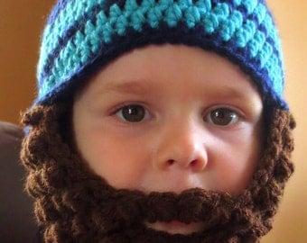 Crochet Striped Bearded Beanie Hat with Detachable beard for newborns, babies, children and adults handmade with premium acrylic yarn