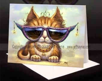 Cool Cat Greeting card // Cat painting // Cat art print // Orange Tabby Cat Cool cat sunglasses // Orange Tuxedo cat greeting card