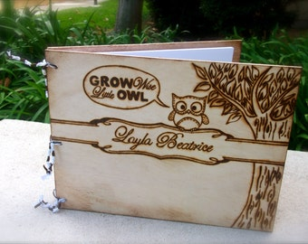 Personalized Custom Hand Engraved Baby Journal with owl