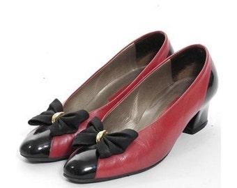 Vintage 1980's Bow Detailed Kitten Heels 6 - www.brickvintage.com