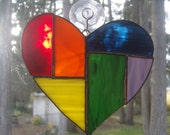 Abstract Rainbow Stained Glass Heart Suncatcher