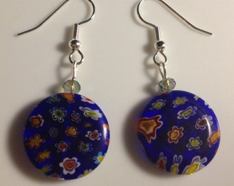 Colorful blue glass earrings