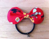 Japanese Red Retro Cat Hair Bow. Japanese hairbow. Japanese Hair Ribbon. Japanese elastic hair bow. Hair tie. Ponytail holder.
