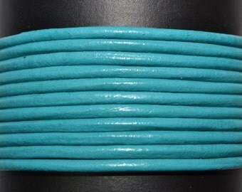 Turquoise / 1.5mm Leather Cord/ leather by the yard / round leather cord / genuine leather / necklace cord / bracelet cord