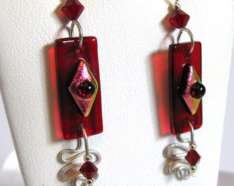 Hand made Dichroic Fused Glass red glass earrings