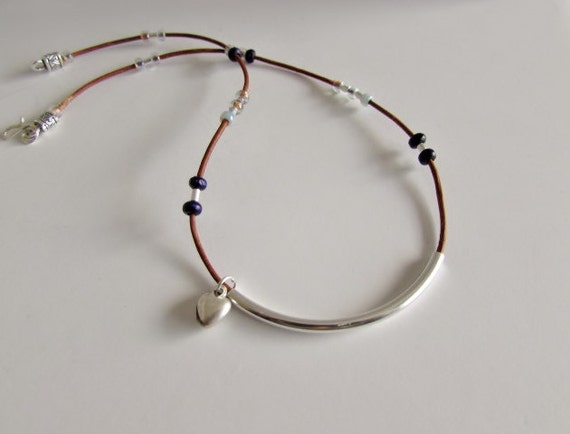 Leather Cord Choker, Leather and Beaded Choker Necklace, Beaded Necklace, Silver Plate, Handcrafted Hook and Eye Closure