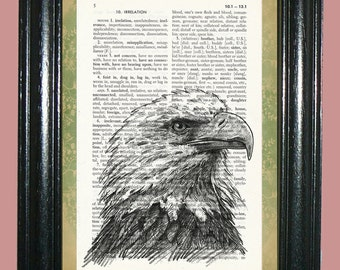 Bald Eagle Dictionary Page Art Dictionary Print Page Art Print Upcycled Art Print Vintage Book Page Art Print cp473