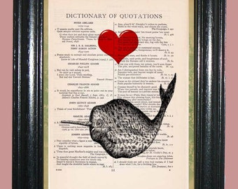 Ocean Narwhale with Single Red Heart Vintage Dictionary Book Page Art Print Beautiful Upcycled Art Print
