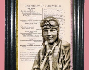Famous Aviator Emilia Earhart Art - Vintage Dictionary Page Book Art Print Upcycled Page Art Collage Print