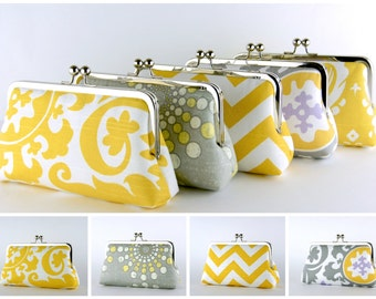 Bridesmaid Clutch, Grey and Yellow collection, Silk Lining, Bridesmaid Gift, Wedding clutch