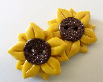 Sunflower Buttons ~ Set of 2