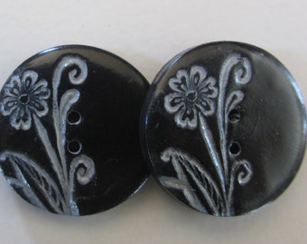 Vintage Flower Buttons ~ Set of 2