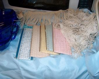 Vintage Bundle of Trim for Sewing, Lace & Fringe, WAS 15.00 - 50% = 7.50