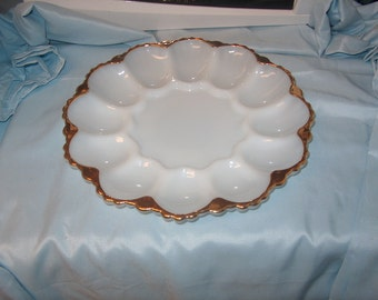Vintage Eggplate with Gold Edge, Milk Glass, WAS 15.00 - 20% = 12.00