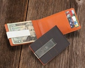 Personalized Metro Leather Wallet/Money Clip - Groomsmen Gift - Best Man Gift - Fathers Day Gift