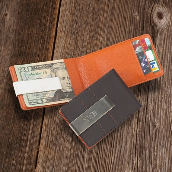 personalized metro leather wallet  money clip groomsmen gift
