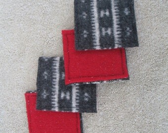 Upcycled Fair Isle Reversible Felted Wool Coaster Grey Cream Red Design 2 Set of Four