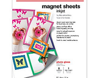 """Lot of 4 Packs - Office Depot Brand Inkjet Glossy Magnet Sheets, 8 1/2"""" x 11"""", Pack of 5 (totaling 20 Sheets)"""