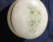 19th Century , Hand Carved from Italy , Fine Alabaster Vanity Dish . Floral pattern on top .