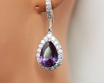 Crystal Drop Bridal Earrings, Purple Crystal Wedding Earrings, Bridal Party Gift, Bridesmaid Earrings, Wedding Jewelry Gift